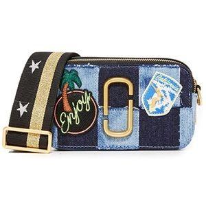 Marc Jacobs denim patch snapshot crossbody bag